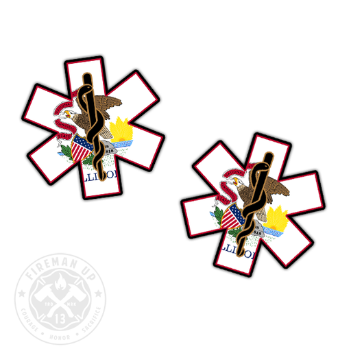 "Illinois Flag EMS Star of Life - 2"" Sticker Pack"