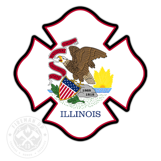 "Illinois Flag Fire Maltese - 4"" Sticker"