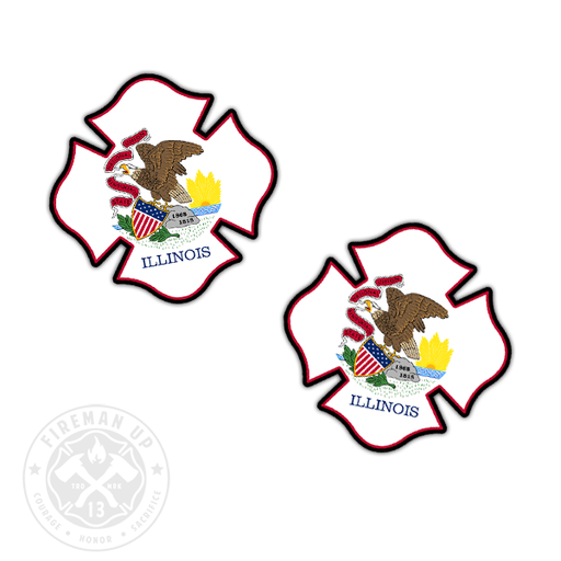 "Illinois Flag Fire Maltese - 2"" Sticker Pack"