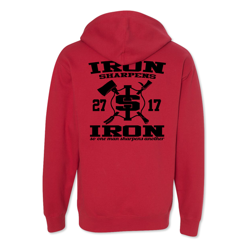 Iron Sharpens Iron RETRO - Midweight Hoodie - Red