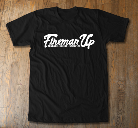 Black & White Collection - Fireman Up Letter Logo Tee