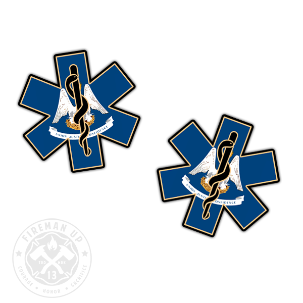 "Louisiana Flag EMS Star of Life - 2"" Sticker Pack"