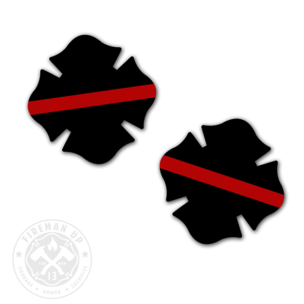 Firefighter Fireman Thin Red Line Decals Pack Of Two