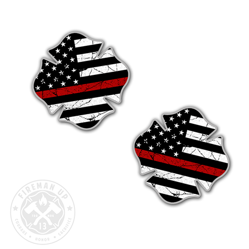 "Maltese Thin Red Line USA Flag Tattered - 2"" Sticker Pack"