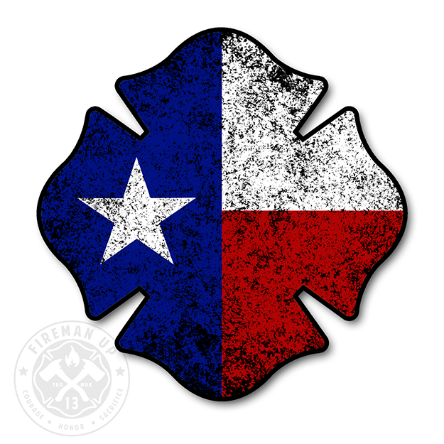 "Texas Flag Maltese Tattered - 4"" Sticker"