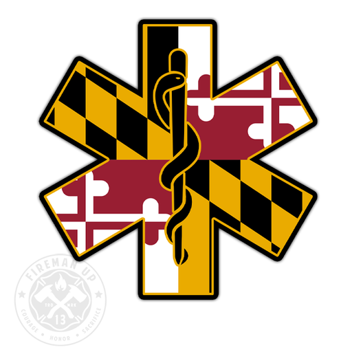 "Maryland Flag EMS Star of Life - 4"" Sticker"