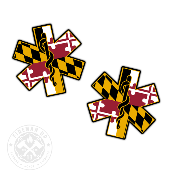 "Maryland Flag EMS Star of Life - 2"" Sticker Pack"