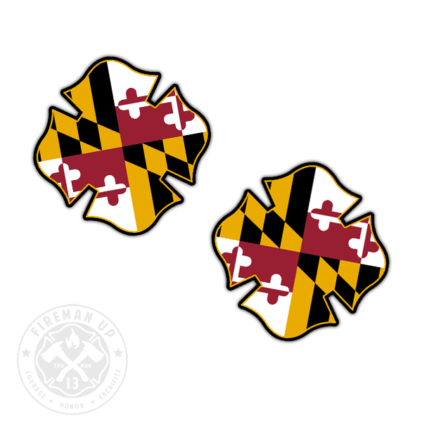 "Maryland Flag Fire Maltese - 2"" Sticker Pack"