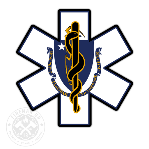 "Massachusetts Flag EMS Star of Life - 4"" Sticker"