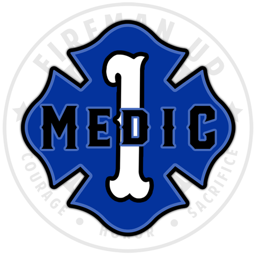 Medic 1 Sticker Decal EMS Maltese Fireman Up