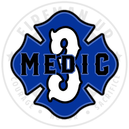 "Medic 3 Outlined Number Maltese - 4"" Sticker"