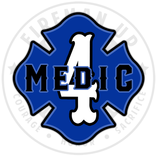 "Medic 4 Outlined Number Maltese - 4"" Sticker"