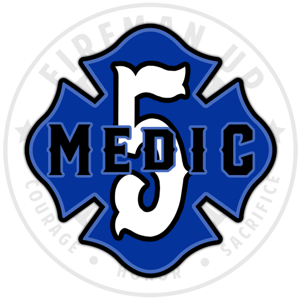 "Medic 5 Outlined Number Maltese - 4"" Sticker"