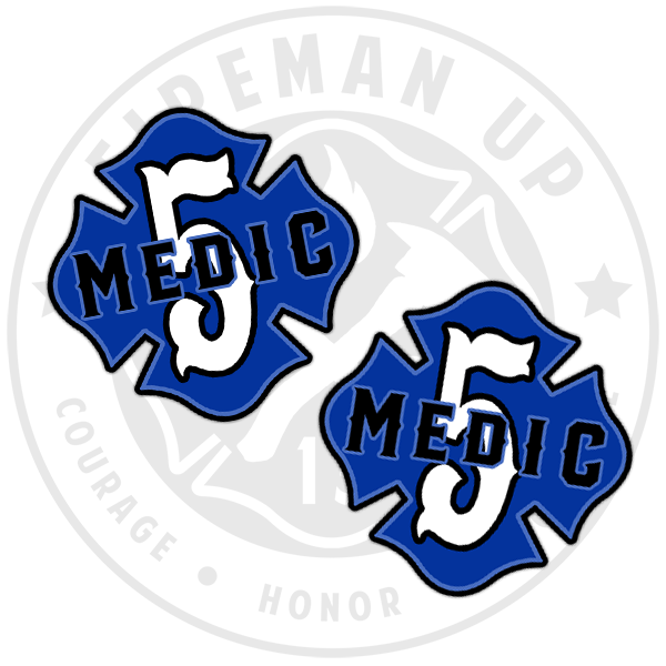 "Medic 5 Outlined Number Maltese - 2"" Sticker Pack"