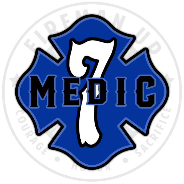 "Medic 7 Outlined Number Maltese - 4"" Sticker"
