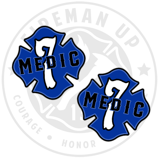 "Medic 7 Outlined Number Maltese - 2"" Sticker Pack"