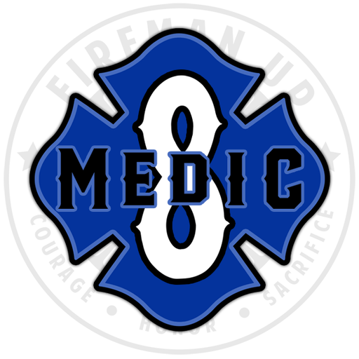"Medic 8 Outlined Number Maltese - 4"" Sticker"