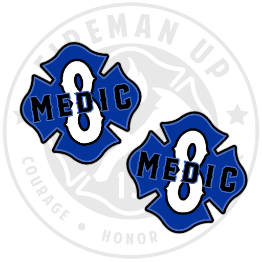 "Medic 8 Outlined Number Maltese - 2"" Sticker Pack"
