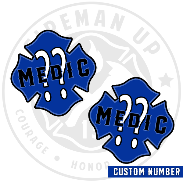 Medic CUSTOM Outline Number Maltese Sticker Pack