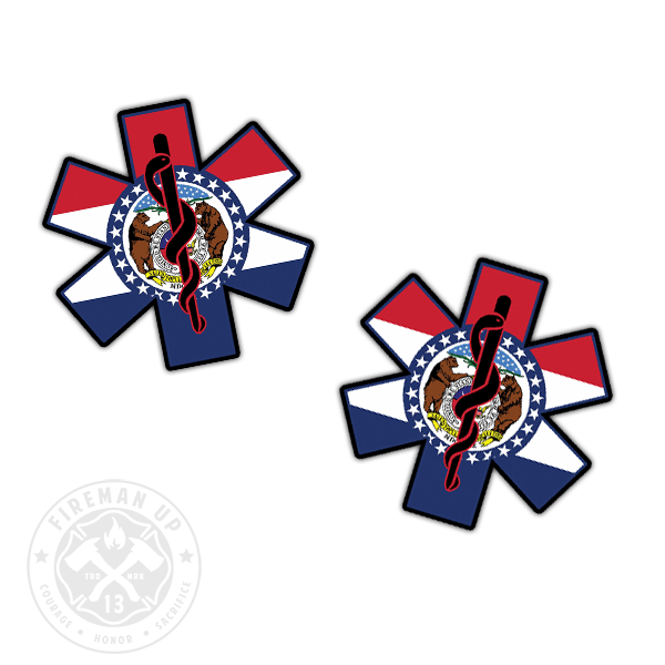 "Missouri Flag EMS Star of Life - 2"" Sticker Pack"