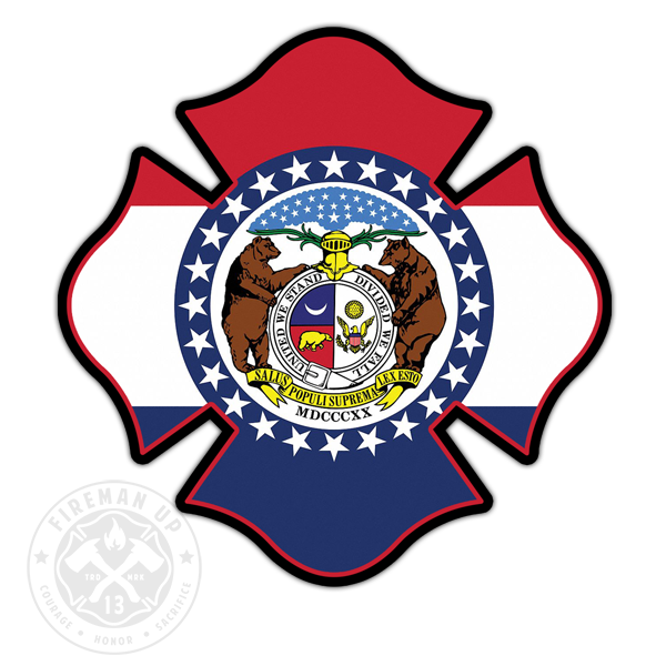 "Missouri Flag Fire Maltese - 4"" Sticker"