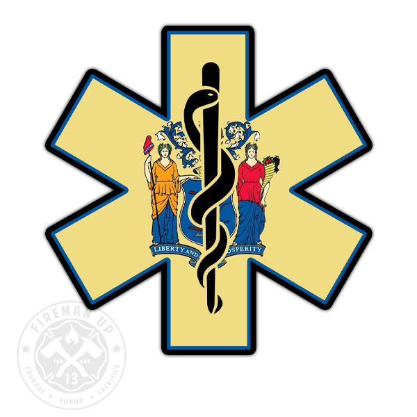 "New Jersey Flag EMS Star of Life - 4"" Sticker"