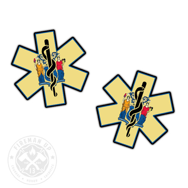 "New Jersey Flag EMS Star of Life - 2"" Sticker Pack"