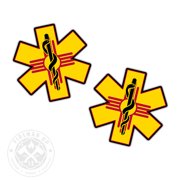 "New Mexico Flag EMS Star of Life - 2"" Sticker Pack"