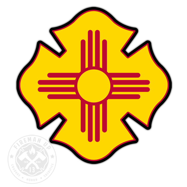 "New Mexico Flag Fire Maltese - 4"" Sticker"