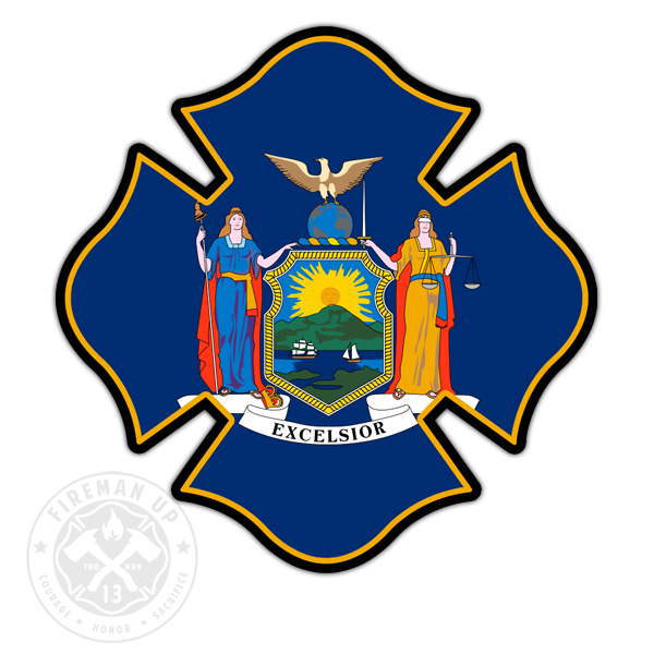 "New York Flag Fire Maltese - 4"" Sticker"