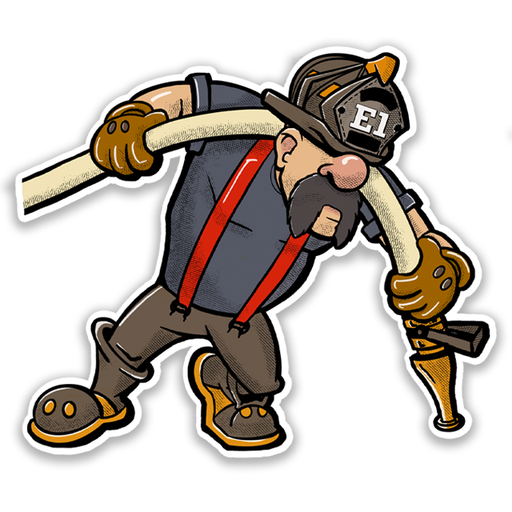 Fireman Up Nozzle Man Firefighter Sticker