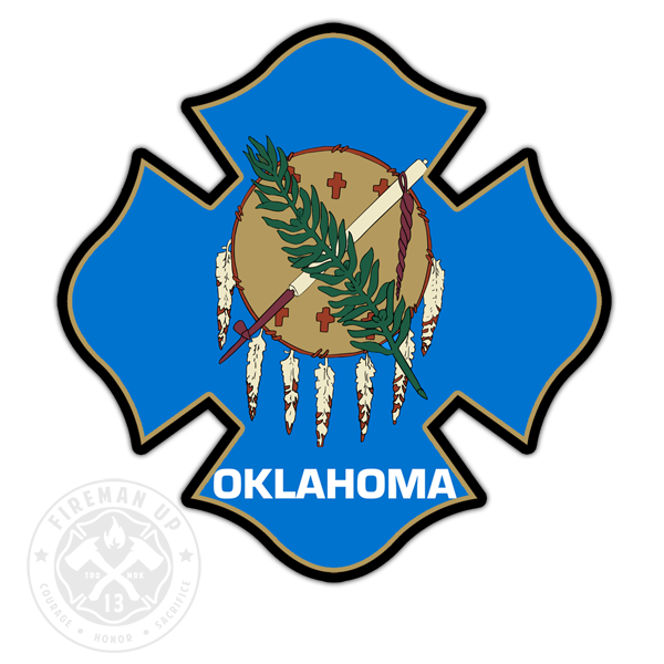"Oklahoma Flag Fire Maltese - 4"" Sticker"