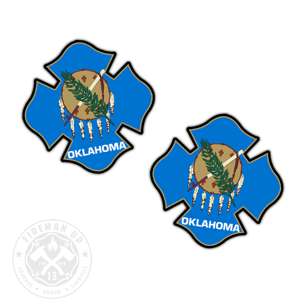 "Oklahoma Flag Fire Maltese - 2"" Sticker Pack"