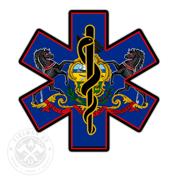 "Pennsylvania Flag EMS Star of Life - 4"" Sticker"