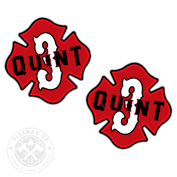 "Quint 3 Outline Number Maltese - 2"" Sticker Pack"