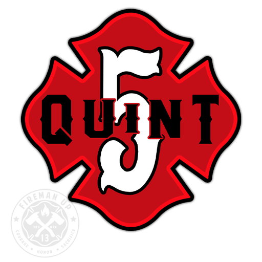 "Quint 5 Outline Number Maltese - 4"" Sticker"