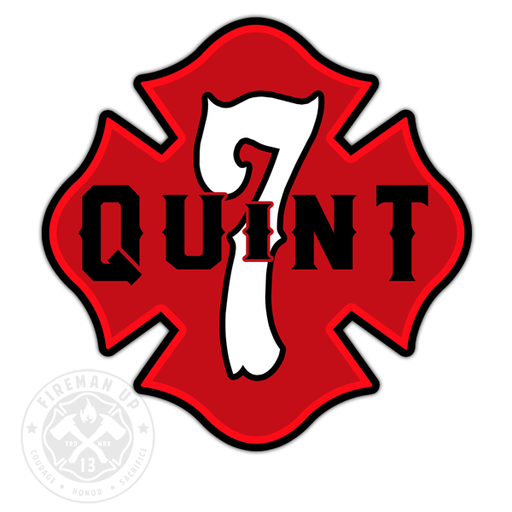"Quint 7 Outline Number Maltese - 4"" Sticker"