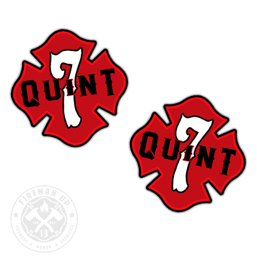 "Quint 7 Outline Number Maltese - 2"" Sticker Pack"