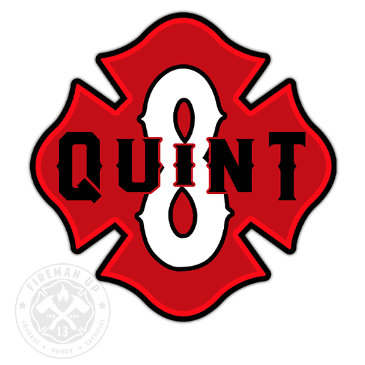 "Quint 8 Outline Number Maltese - 4"" Sticker"