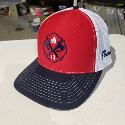 121184076623a8 Red White and Blue Maltese Logo - Snapback Trucker Hat — Fireman Up