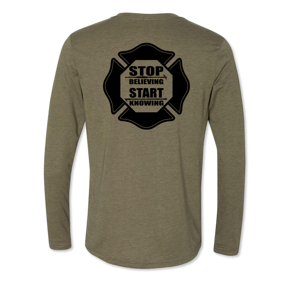 Stop Believing Start Knowing Logo - Men's Tri Blend Long Sleeve Tee