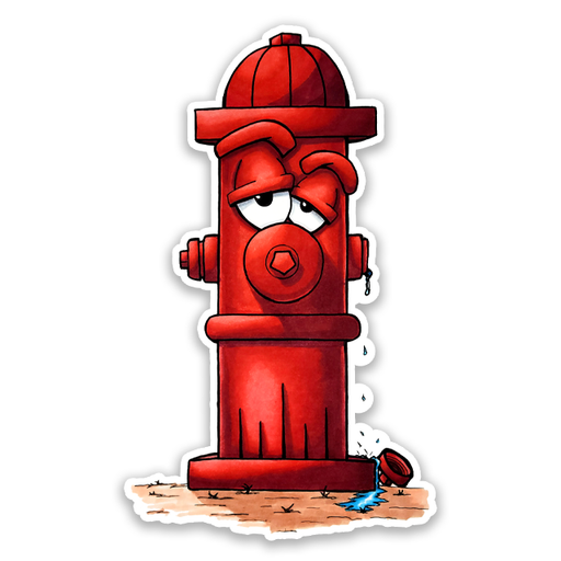 Sad Fire Hydrant Stickers