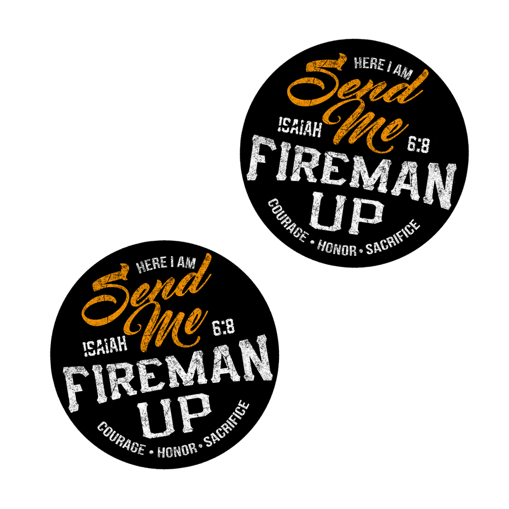"Fireman Up ""Send Me"" Helmet Stickers - (2"" X 2"") 2 pack"