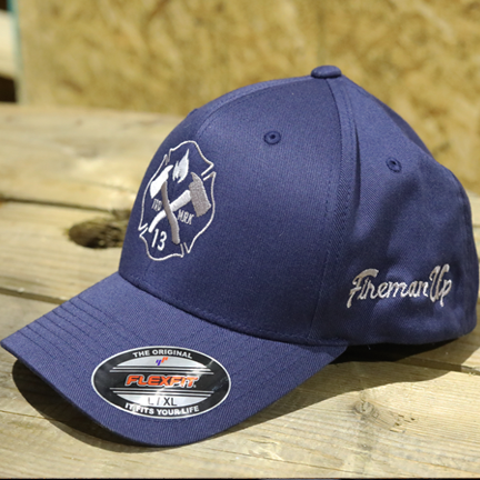 Silver and White Maltese Logo on Blue FlexFit Hat