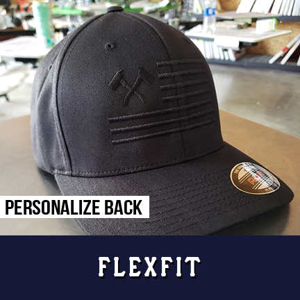 Crossed Axe Flag Black Out Hat - Flexfit