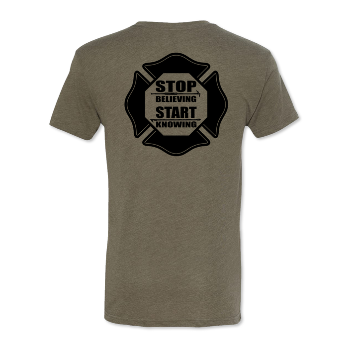 Stop Believing Start Knowing Logo - Men's Tri Blend Tee
