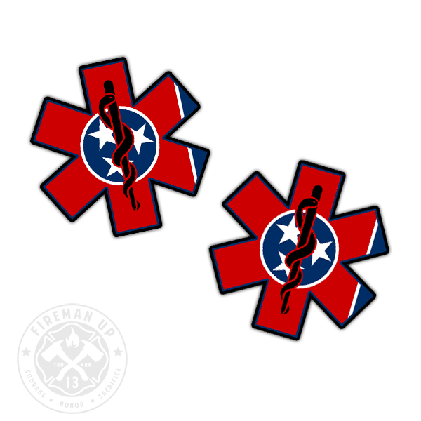 "Tennessee Flag EMS Star of Life - 2"" Sticker Pack"