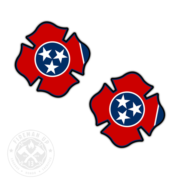"Tennessee Flag Fire Maltese - 2"" Sticker Pack"