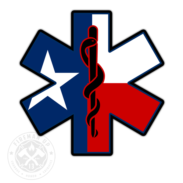 "Texas Flag EMS Star of Life - 4"" Sticker"