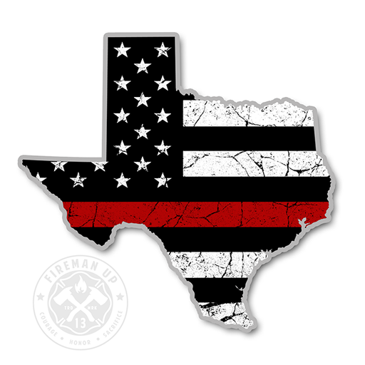 "Texas Thin Red Line USA Flag Tattered - 4"" Sticker"